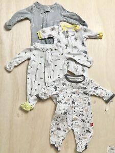 Preemie Baby Boy Pajama's Bundle of 3 Carter's Pajamas & 1 Magnetic Me Pajamas