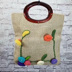 Vintage 1950s JR FLORIDA Crochet Floral Burlap Handbag LUCITE Handles Purse