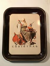 """1975 Norman Rockwell Christmas Tray Le Limited Edition Santa Elves 10""""x13"""""""