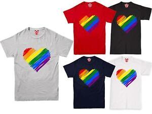 PRIDE HEART MENS T-SHIRT GAY LESBIAN LGBT UNISEX RAINBOW TOP UNISEX