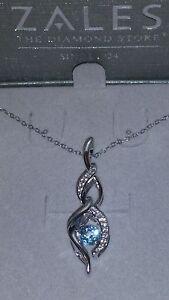 "ZALES Jewelers Sterling Silver Blue ""RHYTHM"" Topaz & White Sapphire Necklace"