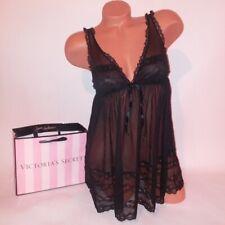 Victoria Secret Lingerie Chemise Slip Babydoll Teddy Medium Black Sheer Lace