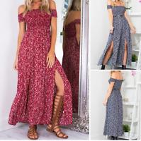New Women Boho Off Shoulder Floral Long Slits Maxi Dress Chiffon Beach Sundress