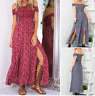 New Women Boho Off Shoulder Floral Long Slits Maxi Dress Chiffon Beach Sundress