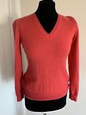 F&F 100% Cashmere V Neck Long Sleeve Jumper Size UK 8 10 Soft Casual Pink Coral