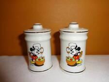 Disney Mickey Mouse Salad Salt & Pepper Shakers Shaker Set Gold Trim Porcelain