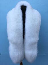 Arctic Fox Fur Stole Boa 63' Inch. (160cm)  Saga Furs Pure White Collar Scarf