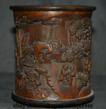 """6"""" Old Chinese Palace Bamboo Wood Carved figures Child Brush Pot pencil vase"""