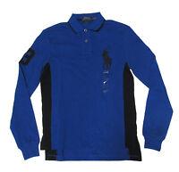 Ralph Lauren Mens Blue Custom Fit Long Sleeve Big Pony Rugby Polo Shirt S