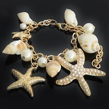 Star Fish Shell Faux Pearl Bracelet statement chunky elegant fashion UK SELLER