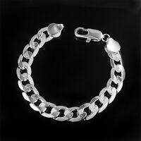 8/10/12mm 925 Silver Plated Flat Sidyway Women Men's Chains Bracelet Jewelry Hot