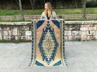 DECORATIVE VINTAGE TURKISH TRIBAL WOOL HANDMADE ANATOLIAN RUG, KITCHEN, ENTRANCE