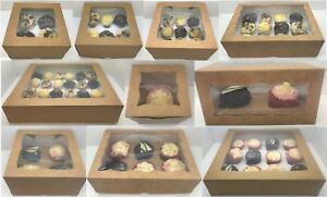 PREMIUM Windowed Kraft Cupcake Boxes for 1, 2, 4, 6, 9, 12 & 24 Cup Cakes & Tray