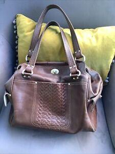ORLA KIELY Brown Leather Stem Shoulder Grab Bag