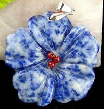 Beautiful Unique Blue Sodalite Carved Flower Pendant bead d0595