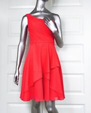 MORI LEE size 4-6 Sheath Tiered Layered Cocktail Dress One Shoulder coral prom