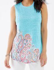NWT J Jill Love Linen Sz MP Portofino Linen Knit Tank Island Blue Delany Paisley