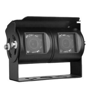 4Pin Dual Head CCD IR Reversing Rearview Camera For Truck Van Caravans Trailer