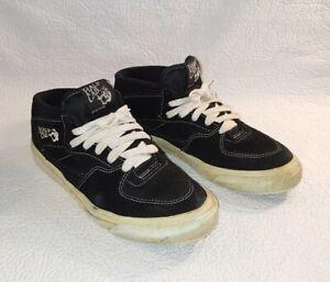 Vintage VANS HALF CAB Skate Shoes 90s Made In USA Men's 8.5 Black Suede