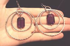big textured silver tone circle + faceted purple retangle dangle hoop earrings