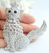 "Cute 4.92"" Cat Kitty Animal Brooch Pin Pendant Clear Rhinestone Crystal 05953C1"