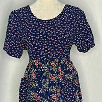 Vintage 90s Empire Waist Floral Dress L Blue Midi Button Front Pockets Tie Waist