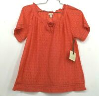 Hinge Womens Lace Popover Blouse Short Sleeve V Neck Tie Front Cotton New Small
