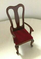 NEW Dolls House Miniature Mahogany Red Velour Dining Chair WIth Arm Rests