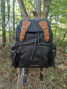 NEW Authentic Burberry Medium Rucksack Black Nylon Backpack