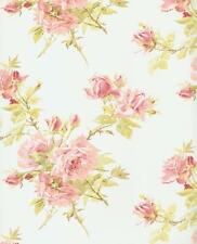 Wallpaper Traditional Pink Blush Rose Roses on White Background