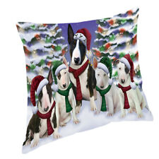 Bull Terrier Dog Christmas scenic background Throw Pillow 14x14