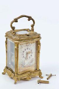 Very rare Miniature French gilt bronze Rococo case carriage clock 1885 - 1890