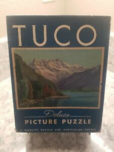Tuco vintage puzzles Deluxe Picture Puzzle Mountain Lake Cabin CRYSTAL LAKE