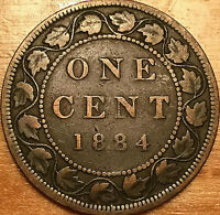 1884 CANADA LARGE 1 CENT PENNY - Obverse #1 variety