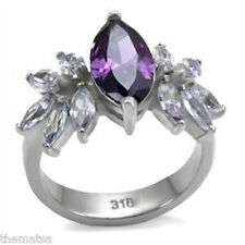 WOMENS STAINLESS STEEL MARQUISE AMETHYST CZ RING SIZE 5 6 7 8 9 10 FREE SHIPPING