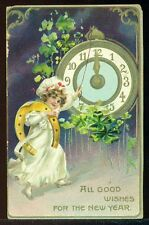 ALL GOOD WISHES FOR THE NEW YEAR Girl Rings Bell Clock Horseshoe TUCKS Postcard