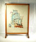 Vintage Tapestry Fire Screen Oak Tapestry Needlework Ship Sailing Scene