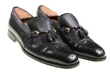 Moreschi ITALY Black Leather Wingtip Gold Bit Tassle Loafers Dress Shoes 10