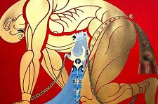 Erte 1982 - SAMSON and DELILAH Has Strong Man in Chains Art Deco Print Matted