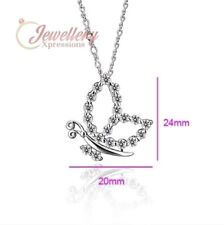 Silver Coloured  Copper Open Butterfly Cubic Zirconia Necklace