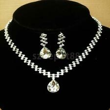 Women Fashion Jewelry Set Crystal Water Drop Bridal Necklace Earrings