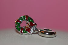 AUTHENTIC NEW PANDORA HOLIDAY WREATH 796362ENMX RED GREEN ENAMEL STER SILV SALE