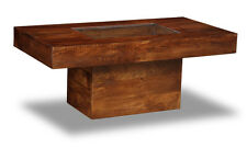 LIVING ROOM FURNITURE DAKOTA DARK MANGO LARGE PEBBLE COFFEE TABLE (84N)