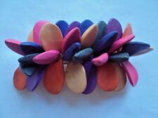 "Womens Hair Barrette Clips in Wood purple, pink yellow ""Flowers"" Hand made4 X 2"""