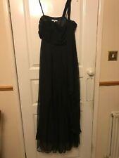 Ladies Gorgeous Long Black Floaty One Shoulder Evening Dress Gothic Size 10 VGC