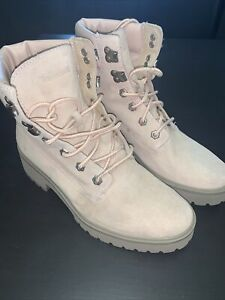 Women's Timberland Rose Leather Boots Pink 8.5 A1SKA A2719 Pre Owned In Good