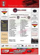 Teamsheet-Rotherham United V Burton Albion 2012/13