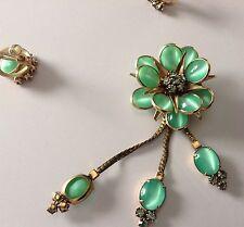 Vintage Signed Glass Moonstone Brooch-Earrings12K-GF-Smoky/Purple Rhinestones