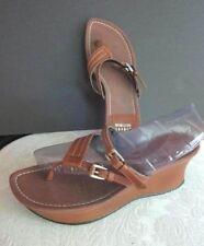 """Stuart Weitzman 2.5"""" Platform Wedge Sandals~Brown Slip On Buckles~Size 8.5M"""