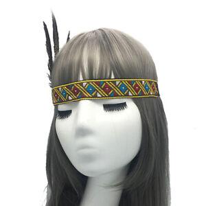 Indian Headdress Feathered Ethnic Costume Party Club Hat Headband Headwear Retro